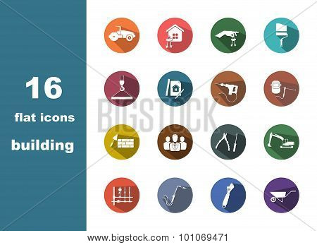 16 flat icons building