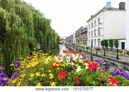 Flowers At The River In Ghent, Belgium