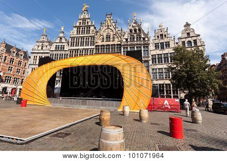 Stage At The Market Square In Antwerp, Belgium