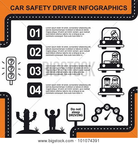 Car safety driver infographic with charts vector illustration