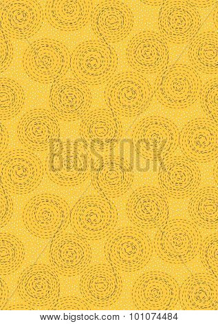 Abstract Seamless Pattern Background. Dashed Line Swirls, Spirals, Circles And Dots. Brown, White On