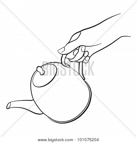 Woman hand with teapot