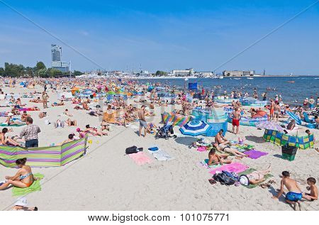 Crowded Municipal Beach In Gdynia, Baltic Sea, Poland