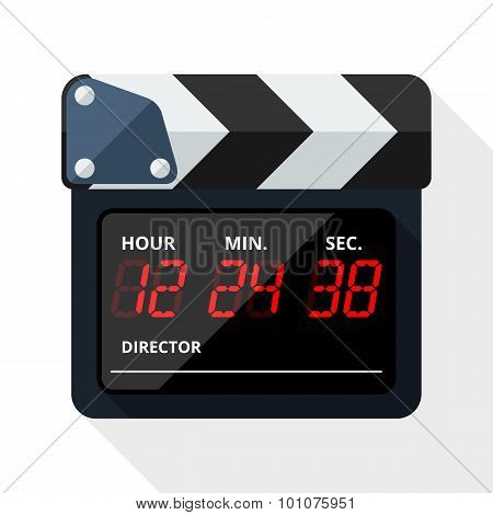 Clapperboard Icon With Long Shadow On White Background