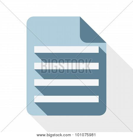 Document Icob With Long Shadow On White Background