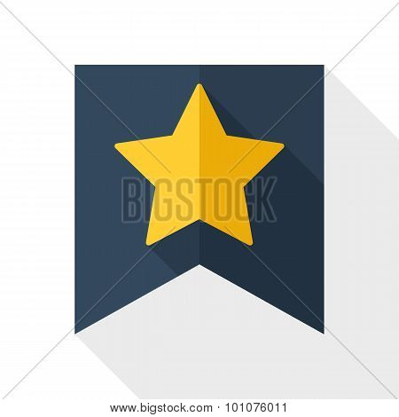 Gold Star On The Flag Icon With Long Shadow On White Background