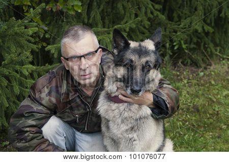 Man And His Guard Dog