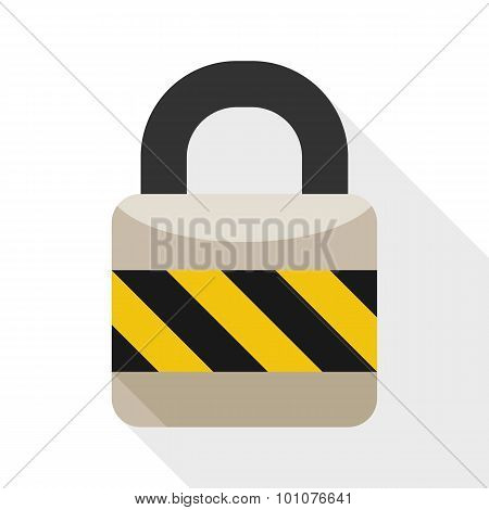 Padlock Flat Icon With Long Shadow On White Background