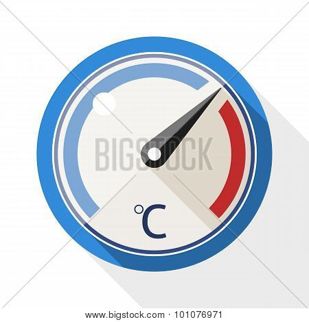 Thermometer Flat Icon With Long Shadow On White Background