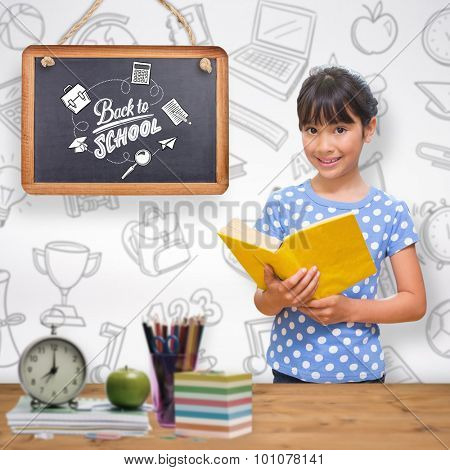 happy pupil against bleached wooden planks background