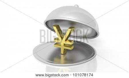 Silver restaurant cloche with gold yen symbol, isolated on white background.