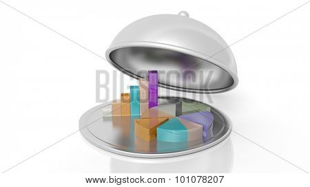 Silver restaurant cloche with chart bars and pie, isolated on white background.