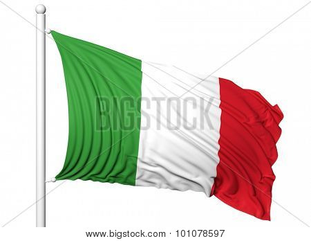 Waving flag of Italy on flagpole, isolated on white background.