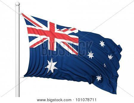 Waving flag of Australia on flagpole, isolated on white background.