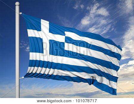 Waving flag of Greece on flagpole, on blue sky background.
