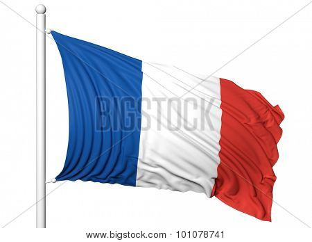 Waving flag of France on flagpole, isolated on white background.