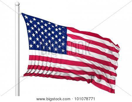 Waving flag of USA on flagpole, isolated on white background.