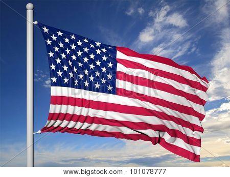 Waving flag of USA on flagpole, on blue sky background.