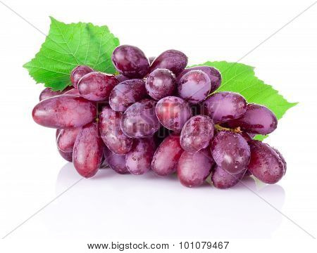 Fresh Wet Red Grapes Isolated On White Background
