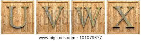 Group of wooden letters U V W X  framed, isolated on white