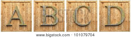 Group of wooden letters A B C D  framed, isolated on white