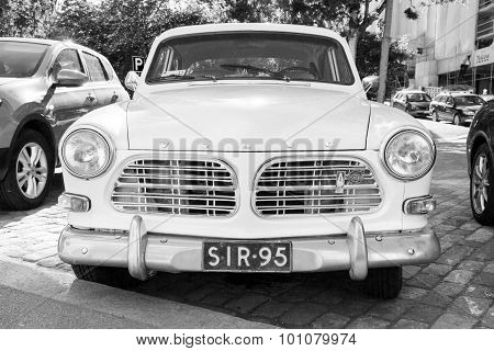 Old White Volvo Amazon 121 B12 Car, Front View