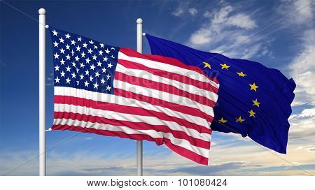 Waving flags of USA and EU on flagpole, on blue sky background.