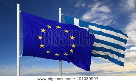 Waving flags of EU and Greece on flagpole, on blue sky background.