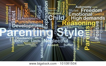 Background concept wordcloud illustration of parenting style glowing light