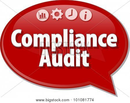 Speech bubble dialog illustration of business term saying Compliance Audit