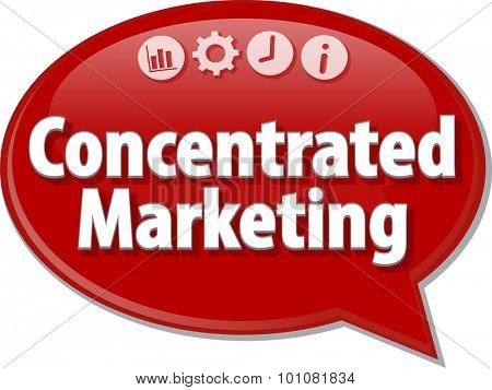 Speech bubble dialog illustration of business term saying Concentrated Marketing