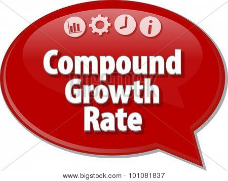 Speech bubble dialog illustration of business term saying Compound Growth Rate