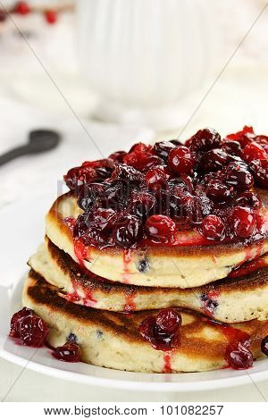 Pancakes With Cranberry Syrup