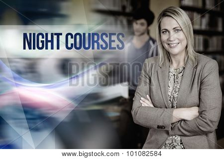 The word night courses against professor looking at camera with arms folded