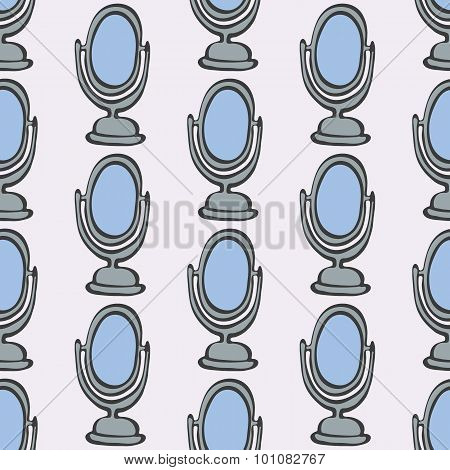 Mirror. Seamless pattern with doodle mirrors. Hand-drawn background. Vector illustration.