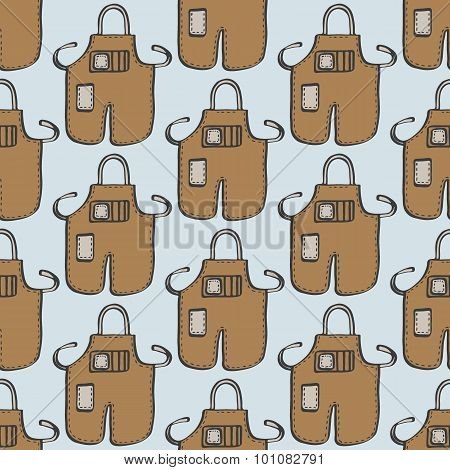Barber apron. Seamless pattern with doodle barber aprones. Hand-drawn background. Vector illustratio