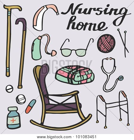 Nursing home set. Hand-drawn stuff for elderly home. Doodle drawing.
