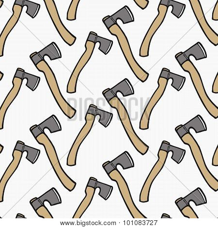 Ax - wood and tools. Hand-drawn seamless cartoon pattern with axe. Vector illustration.
