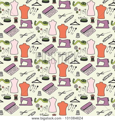 Sewing. Seamless pattern with hand-drawn cartoon sewing tools. Vector illustration.