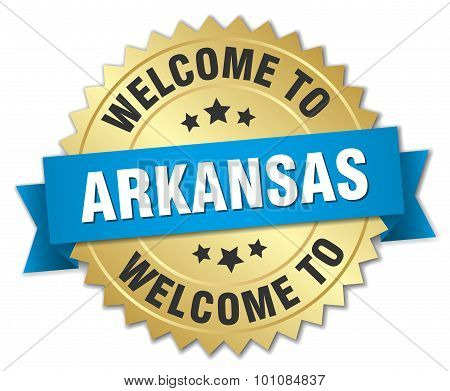 Arkansas 3D Gold Badge With Blue Ribbon