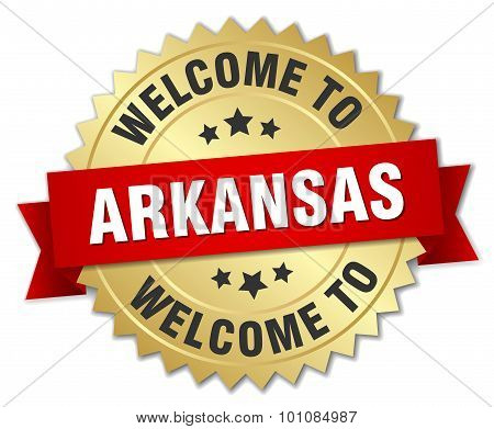 Arkansas 3D Gold Badge With Red Ribbon