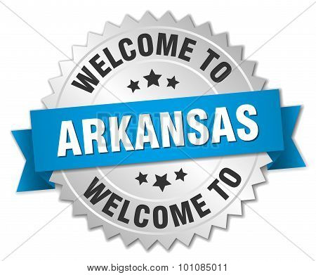 Arkansas 3D Silver Badge With Blue Ribbon