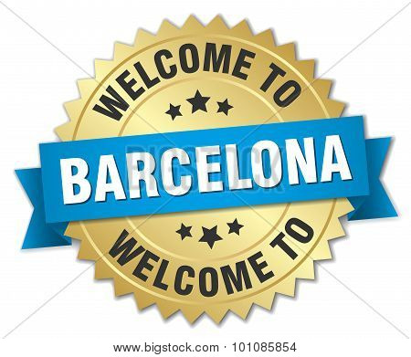 Barcelona 3D Gold Badge With Blue Ribbon