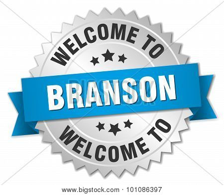 Branson 3D Silver Badge With Blue Ribbon
