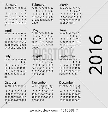 Simple 2016 Calendar / 2016 Calendar Design / 2016 Calendar Vertical - Week Starts With Sunday