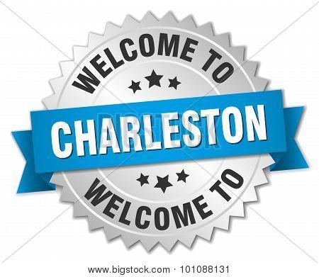 Charleston 3D Silver Badge With Blue Ribbon