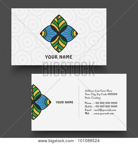 Creative horizontal business card or visiting card with floral design.