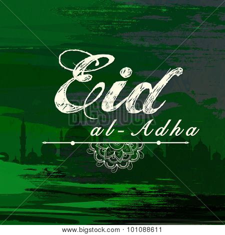 Elegant greeting card design with Mosque on stylish green background for Islamic Festival of Sacrifice, Eid-Al-Adha celebration.