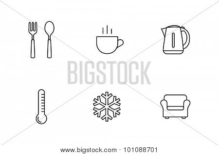 Accommodation and rent out lodging icon set. Vector illustration