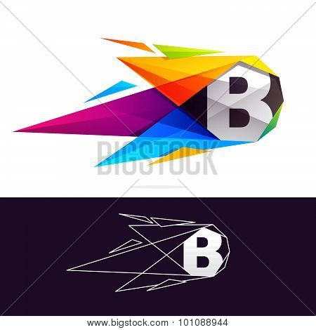 B Letter Logo With Polygonal Comet.